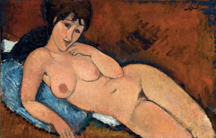 Амедео Модильяни. Обнаженная на синей подушке, 1917 г.
