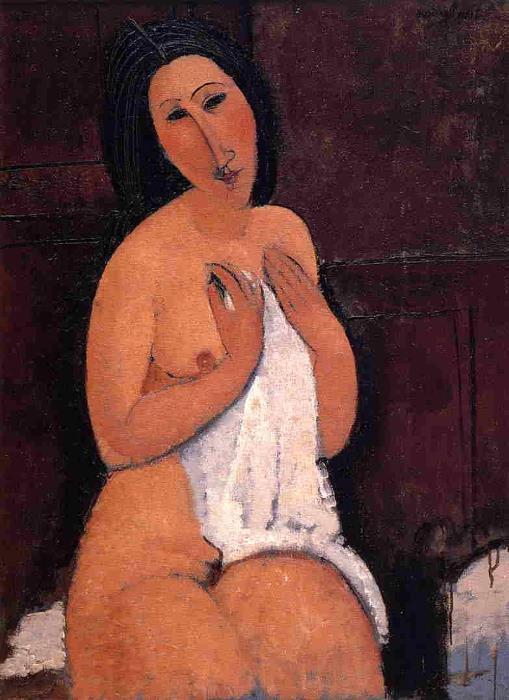Амедео Модильяни. Обнаженная с рубашкой, 1917 г.
