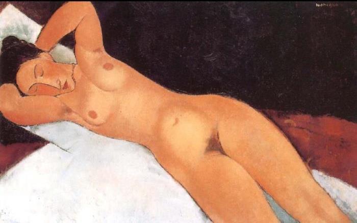 Амедео Модильяни. Обнаженная с закрытыми глазами, 1917 г.