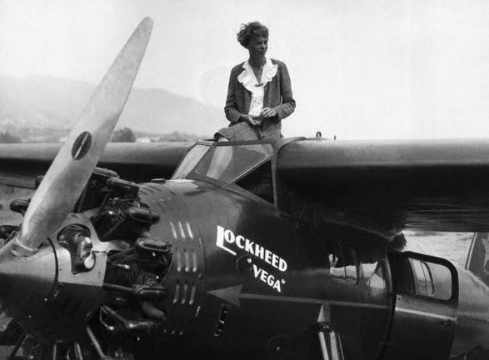 Амелия Эрхарт во время женской воздушной гонки, 1929 г.   Фото: foto-history.livejournal.com