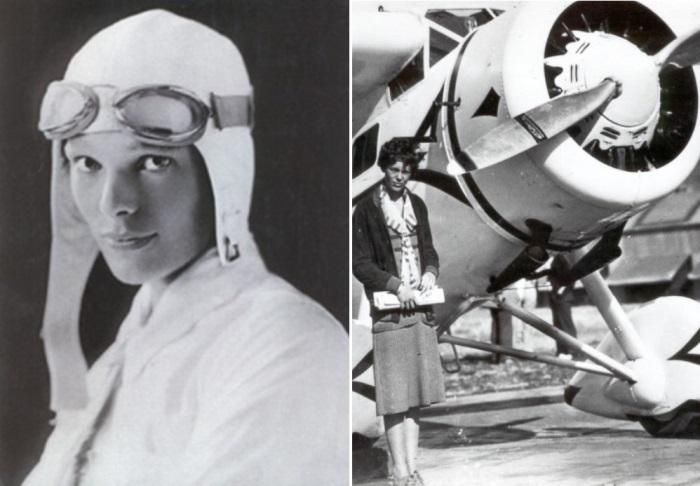 Амелия Эрхарт и самолет Вега, на котором она установила мировой рекорд скорости в 1929 г.   Фото: peoples.ru и foto-history.livejournal.com