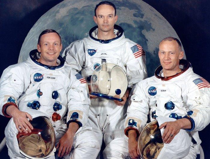 Экипаж американского космического корабля *Аполлон-11*: Нил Армстронг, Майкл Коллинз и Эдвин Олдрин | Фото: photobucket.com