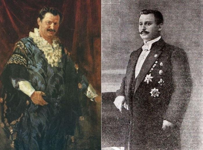 Слева – И. С. Куликов. Портрет А. Л. Дурова, 1911. Справа – А. Л. Дуров, фото | Фото: circuspedia.org