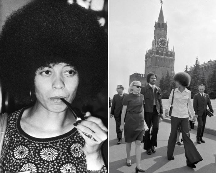 Анджела Дэвис в СССР   Фото: april-knows.ru и tvc.ru