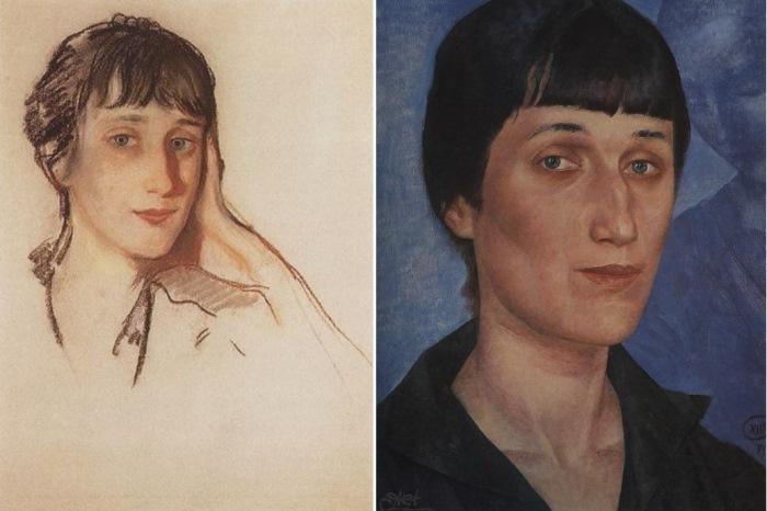 Слева – З. Серебрякова. Анна Ахматова, 1922. Справа – К. Петров-Водкин. Анна Ахматова, 1922
