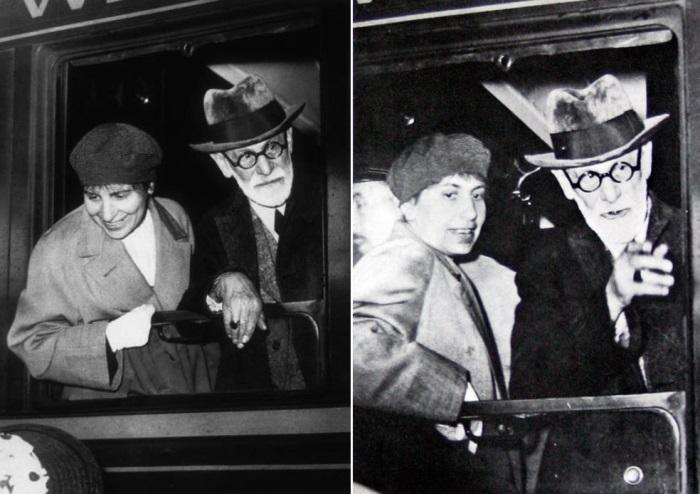 Зигмунд Фрейд с дочерью Анной в поезде, 1938 | Фото: psihijatrija.com