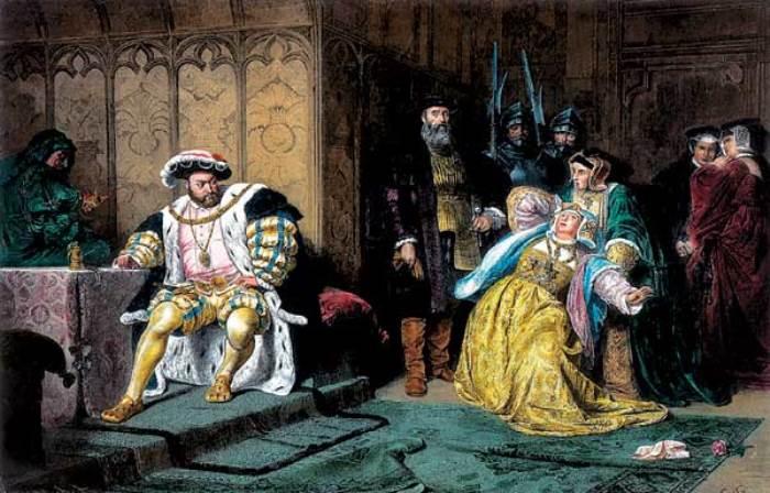 Генрих VIII обвиняет Анну в измене. Гравюра с картины К. Пилоти, 1880