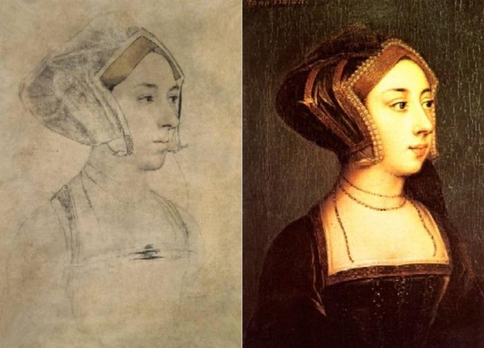 Анна Болейн. Рисунок Ганса Гольбейна Младшего, придворного живописца Генриха VIII, и портрет, выполненный с рисунка