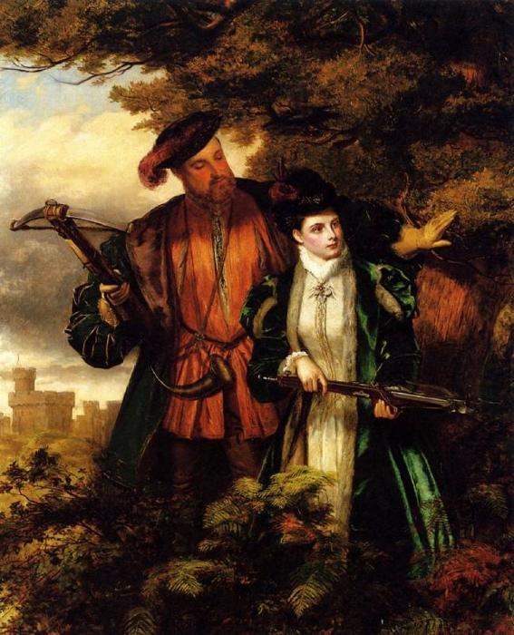 Уильям Фрит. Генрих и Анна охотятся на оленей в Виндзорском лесу, 1872