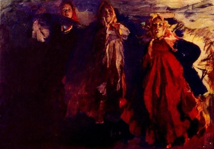 Ф. Малявин. Три бабы, 1902. Рядом с этой картиной на выставке разместили *Ужин* Бакста | Фото: rexstar.ru