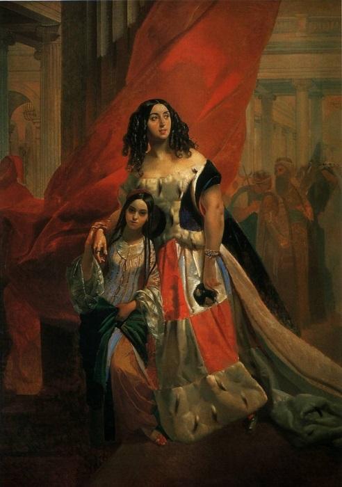 К. Брюллов. Портрет графини Ю. П. Самойловой, удаляющейся с бала с приемной дочерью Амалицией Паччини