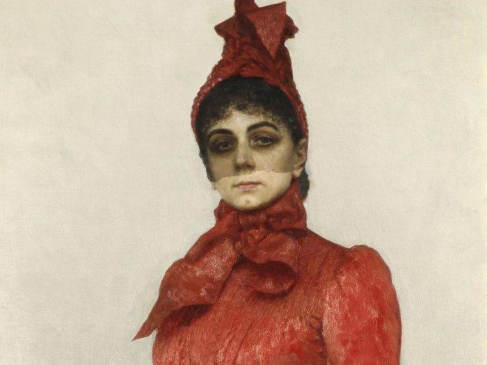 И. Репин. Портрет баронессы В. И. Икскуль фон Гильденбандт (*Женщина в красном*), 1889. Фрагмент