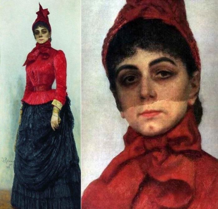 И. Репин. Портрет баронессы В. И. Икскуль фон Гильденбандт (*Женщина в красном*), 1889