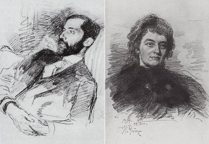И. Репин часто писал портреты посетителей салона Икскуль: Д. Мережковский и З. Гиппиус