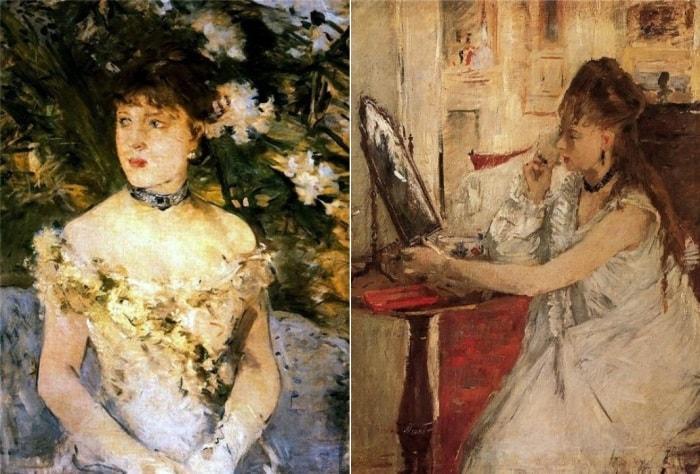Берта Моризо. Слева – *Молодая женщина в бальном платье*, 1880. Справа – *Портрет юной леди перед зеркалом*, 1877 | Фото: liveinternet.ru