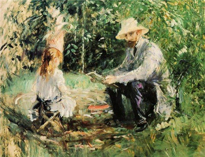 Берта Моризо. Эжен Мане с дочерью в саду, 1883 | Фото: artchive.ru