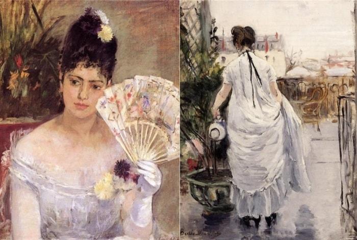 Берта Моризо. Слева – *Во время бала*, 1875. Справа – *Женщина, поливающая кусты», 1876 | Фото: liveinternet.ru