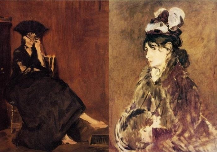 Э. Мане. Слева – портрет Берты Моризо с веером, 1872. Справа – портрет Берты Моризо, 1869 | Фото: artchive.ru
