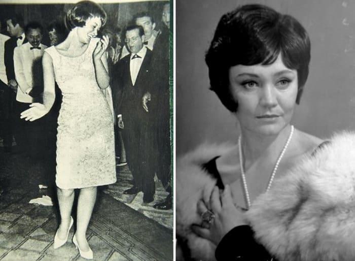 Эта фотография (слева) чуть не поставила крест на карьере актрисы Ларисы Лужиной | Фото: sovsekretno.ru и kino-teatr.ru