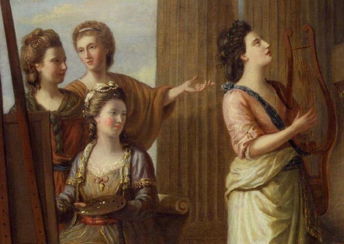 Р. Сэмюэль. Портреты Муз в храме Аполлона, 1778. На этом фрагменте картины изображены участницы кружка *Bluestocking* | Фото: liberallifestyles.com