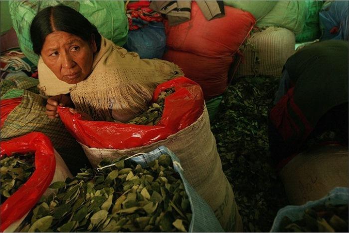 Продавщица листьев коки в Ла-Пас, Боливия