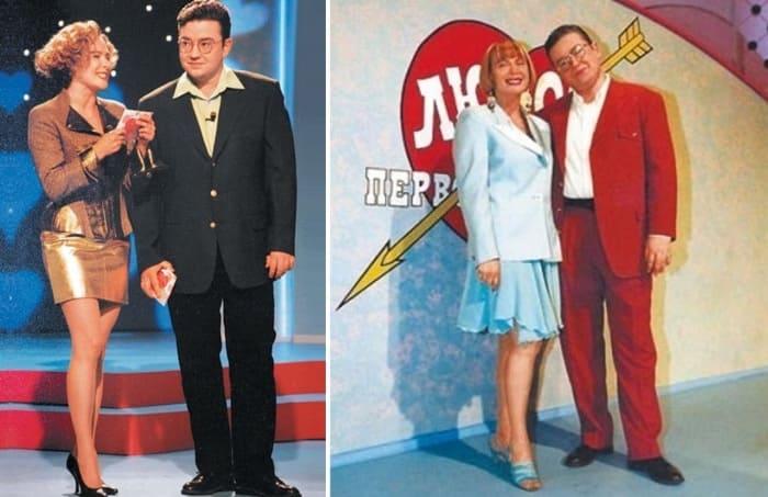 Алла Волкова и Борис Крюк – ведущие программы *Любовь с первого взгляда* | Фото: tele.ru, biografii.net