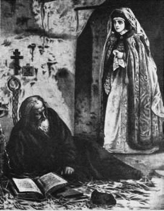 Боярыня Морозова навещает протопопа Аввакума. Миниатюра XIX века