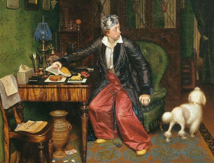 П. Федотов. Завтрак аристократа (*Не в пору гость*), 1849-1850. Фрагмент | Фото: liveinternet.ru