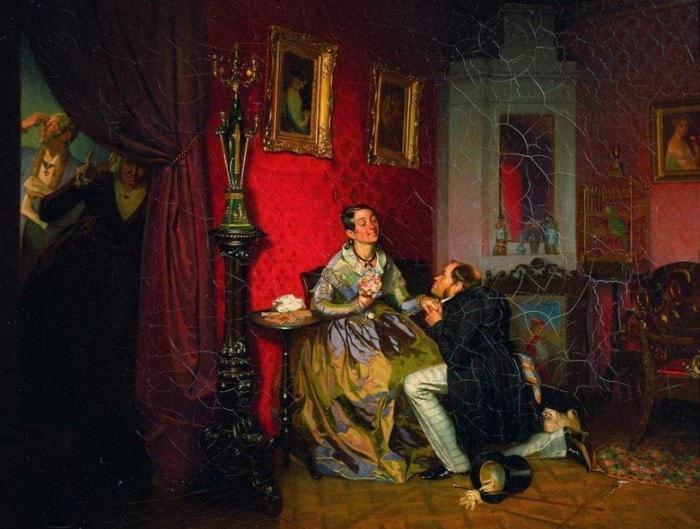 П. Федотов. Разборчивая невеста, 1847 | Фото: gallerix.ru