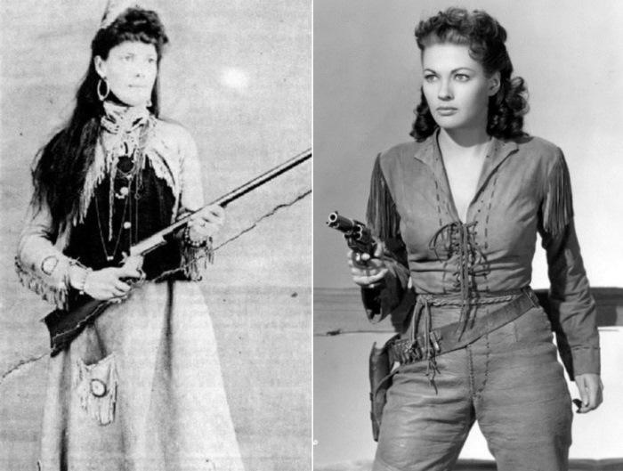 Легендарная Каламити Джейн и Ивонн де Карло, воплотившая ее образ на экране | Фото: retro.cc и peoples.ru