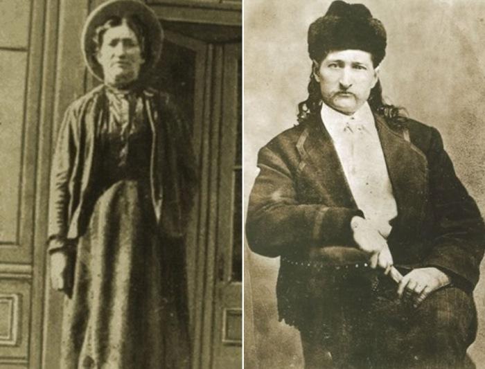 Каламити Джейн и Дикий Билл Хикок, которого она называла своим мужем | Фото: liveinternet.ru и americanlegends.livejournal.com
