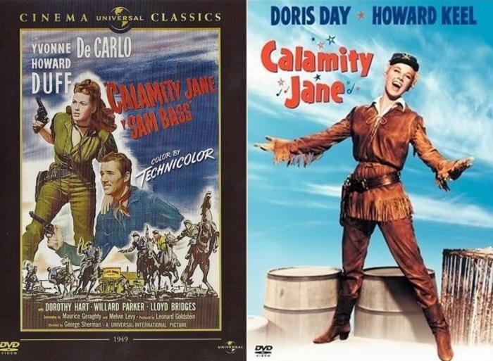 Постеры фильмов *Каламити Джейн и Сэм Басс*, 1949 и *Каламити Джейн*, 1953 | Фото: americanlegends.livejournal.com и rutracker.org