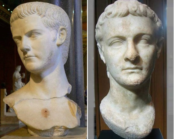 Слева – бюст императора Калигулы из Луврского музея. Справа – бюст императора Калигулы. І в. н.э. Метрополитен-музей | Фото: rushist.com