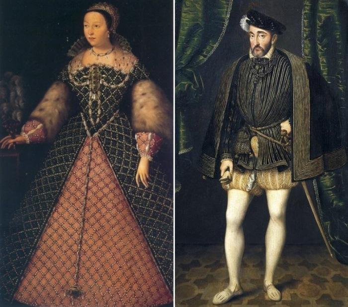 Слева – Неизвестный художник. Екатерина Медичи. Справа – Франсуа Клуэ. Портрет Генриха II