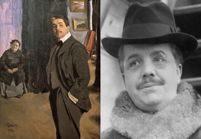 Слева – Л. Бакст. Сергей Павлович Дягилев, портрет с няней, 1905. Справа – С. Дягилев, фото
