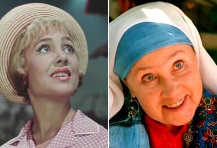 Надежда Румянцева в фильмах *Королева бензоколонки*, 1962, и *Чудная долина*, 2004 | Фото: kino-teatr.ru