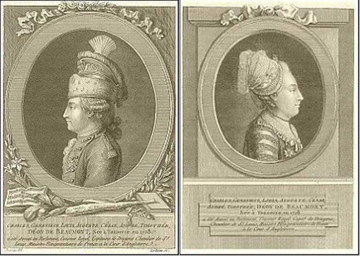 Шевалье д'Эон в мужском и в женском обличье