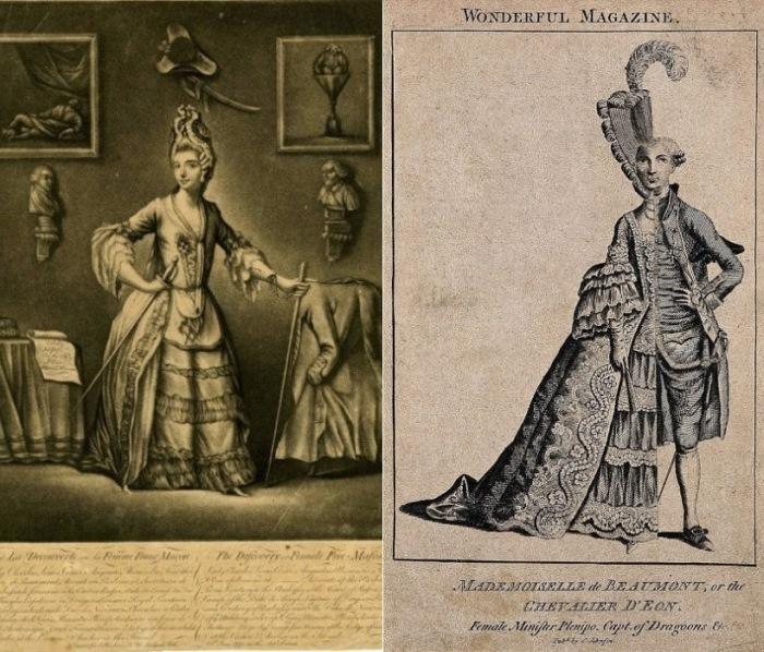 Мадмуазель де Бомон, или Шевалье д'Эон, гравюра из Wonderful Magazine
