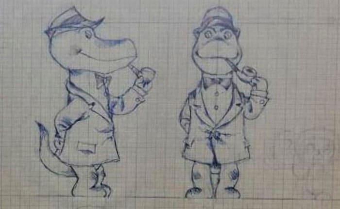 Зарисовки Шварцмана к образу крокодила Гены | Фото: dubikvit.livejournal.com