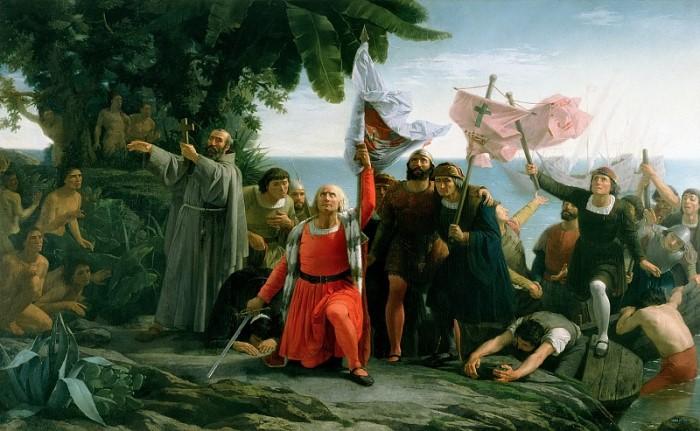 Т. Пуэбла. Первая высадка Христофора Колумба в Новом Свете, 1862 | Фото: gallerix.ru