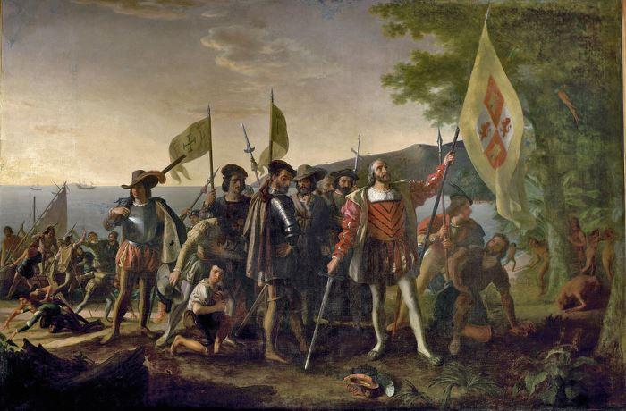 Д. Вандерлин. Высадка Колумба в Америке, 1847 | Фото: megabook.ru