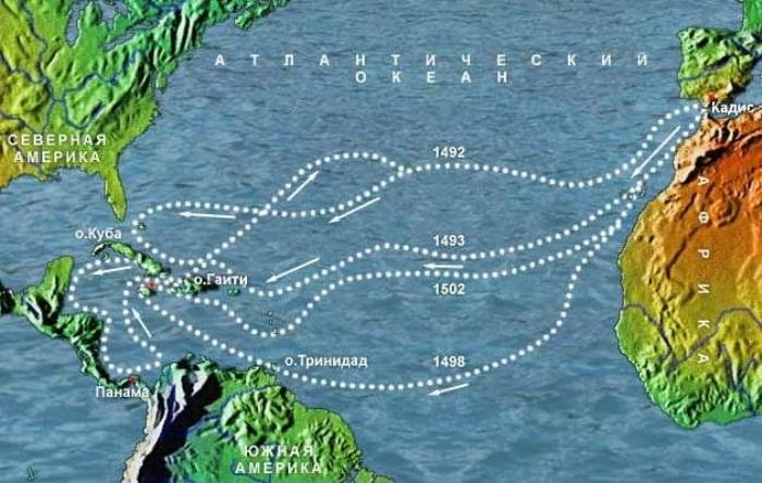 Маршруты экспедиций Христофора Колумба   Фото: yachtrus.com