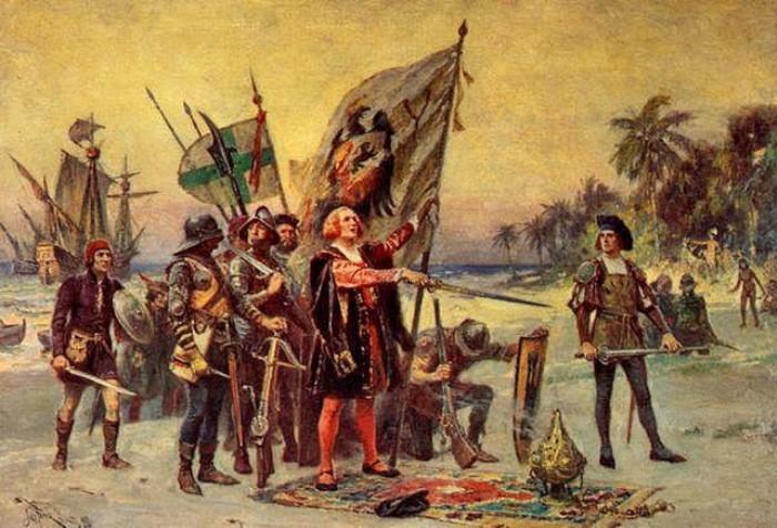 Ж. Л. Ж. Феррис. Прибытие Колумба в Америку   Фото: xoax.net