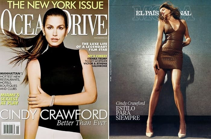 Синди Кроуфорд на обложках журналов 2007 и 2014 гг. | Фото: hellomagazine.com
