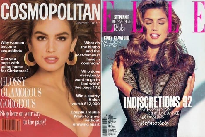 Синди Кроуфорд на обложках журналов 1988 и 1992 гг. | Фото: hellomagazine.com