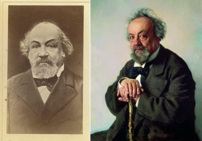 И. Репин. Портрет А. Ф. Писемского, 1880, и фото писателя | Фото: palitra.co и memory.loc.gov