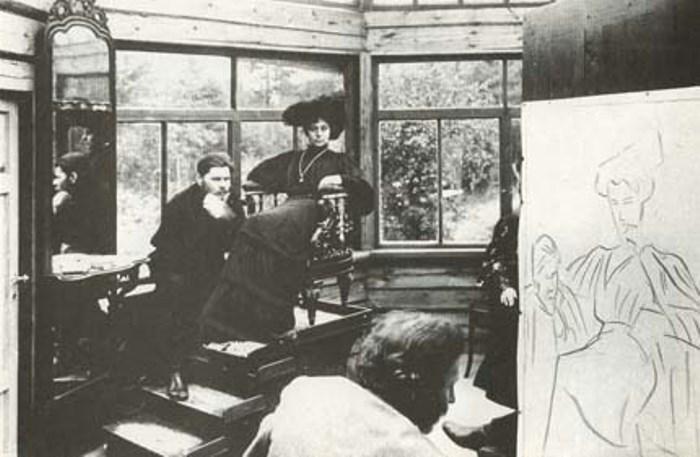 М. Горький и М. Андреева позируют Репину. Финляндия, 1905 | Фото: mirtesen.ru