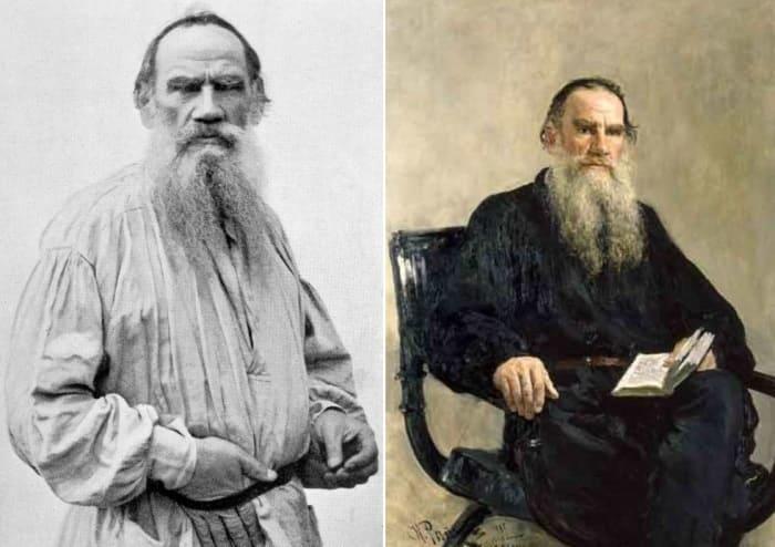 И. Репин. Портрет Льва Толстого, 1887, и фото писателя | Фото: palitra.co и edebiyathane.com