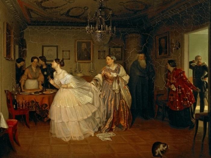 П. Федотов. Сватовство майора, 1848   Фото: art-portrets.ru