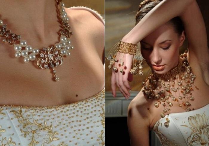 Платье, украшенное кристаллами, и бижутерия от Сваровски | Фото: livemaster.ru